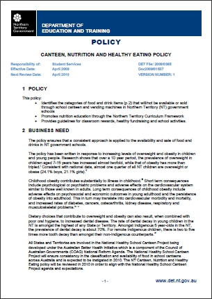 Canteen Nutrition Healthy Eating Policy